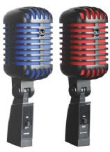 NJS Retro Style 'Elvis' Dynamic Microphone Black with Choice of  RED or BLUE SCREEN